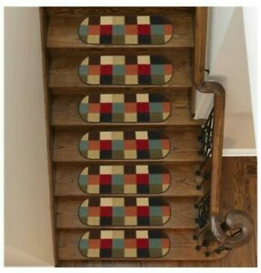 Ottomanson Ottohome Collection Multicolored 9 in. x 26 in. Oval Stair Tread (Set