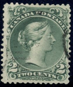 Canada 1868 Scott #24 green 2 cent large queen, F/VF, used CDS, beauty, cat $100