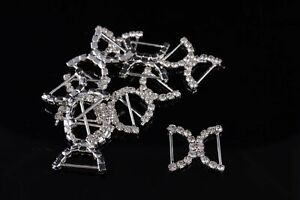 10 Large  'A' Grade crystal  diamante 25mm Doulbe  D Buckle Silders Craft