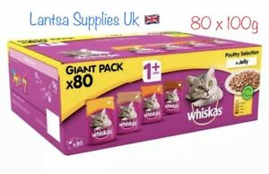 Whiskas Poultry Selection 1+ Cat Food 80 X 100g Jelly Pouches Giant Pack