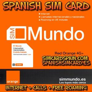 ORANGE MUNDO SPANISH PAYG PREPAID 4G+ SIM CARD INTERNET SPAIN