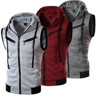 Mens Casual Sleeveless Zip Hoodie Vest Shirt Muscle Gym Tank Tops T-Shirt Coat
