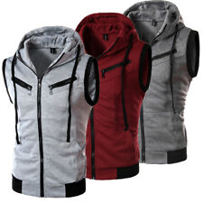 Men Sleeveless Zip Up Gillet Hoodie Hooded Vest Sweatshirt Tops Workout Gym Coat