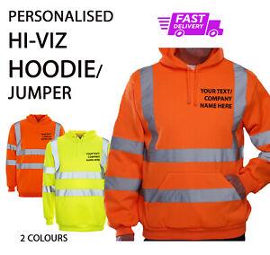 Personalised Printed Hi Vis/Viz HOODIE /JUMPER High Visibility Work Wear HKV05
