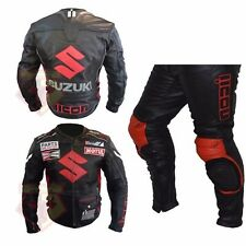 SUZUKI 4269 BLACK MOTORBIKE COWHIDE LEATHER 2 PIECE ARMOURED MOTORCYCLE SUIT