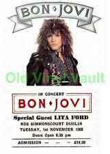 Bon Jovi concert poster RDS Simmonscourt Dublin 1988 A3 Size Repo