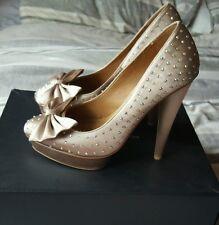 Kurt geiger nude satin bow heels with diamond studs. Size 5