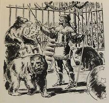 Dessin original de Pierre Rousseau pour Barnum, récit de cirque, ours, 1954