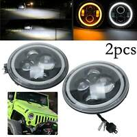 "2X7"" Motorcycle Round Halo Angel Eye LED Headlight Projector w/DRL"
