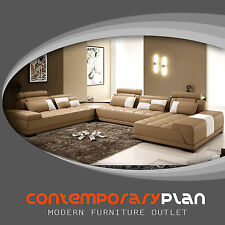 Monte Contemporary Taupe Italian Design Leather Sectional Sofa w White Accents