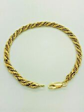 18ct Yellow Solid Gold Rope Bracelet – 8 ¼""