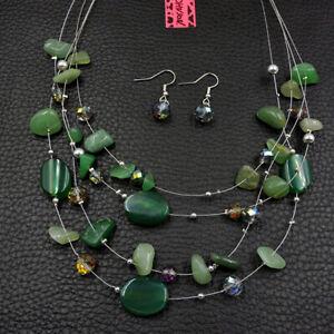 Betsey Johnson Fashion Jewelry Retro Green Gemstone Choker Necklace Earrings Set