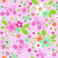 Fabric Butterflies & Flowers on Pink Riley Blake Flannel 1/4 Yard F5660
