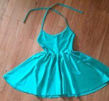 New American Apparel Sz L Nylon Tricot Figure Skater Dress Green Serpent Halter