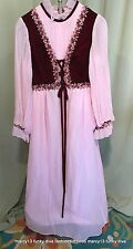 "Vintage 60's Tween Girl's Pink Peasant Style Formal Gown Dress Bust 26"""