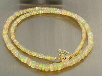 Äthiopischer gelber Opal Kette Collier HIGH FIRE GRADE 45+5 cm /ca 45 ct