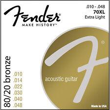 Fender 80/20 Bronze 70XL Acoustic Guitar Strings .010 - .048