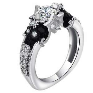 Punk Vintage Style Ladies Skull Engagement Ring With 1 Ct White Round CZ Silver