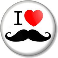 "I Love / Heart Moustache 1"" Pin Button Badge Movember Mustache Moustaches Tash"