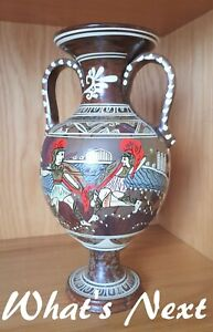 "Vintage 13"" / 33cm Grecian Urn (Made in Greece) features Gladiators fighting"