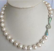 "WHITE AKOYA PEARL NECKLACE & Crystal 18 "" New 11-12 MM"