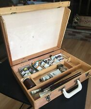 Vintage Wooden Artist Painters Dovetailed Box  w/ Brushes Paint Grumbacher Gyros