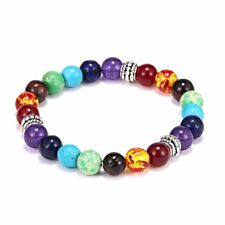 7 Chakra Healing Beaded Bracelet Natural Lava Stone Diffuser Stretch Jewelry HOT