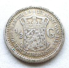 NETHERLANDS 1/2 GULDEN 1913, WILHELMINA, .945 SILVER, VF LIGHT TONE. KM#147