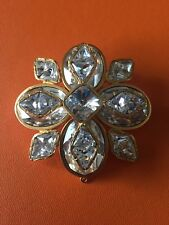 Collectible Vintage Large Crystal Flower Brooch