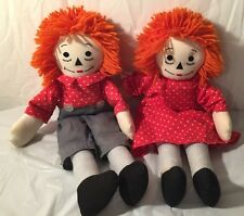 "RAGGEDY ANN and ANDY, 20"" Set of (2) Cloth Dolls...HANDMADE"