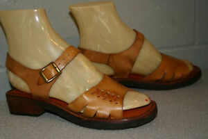 Girls size 3 NOS True VINTAGE 1970s Boho Sandal Leather Shoe Woven Childrens