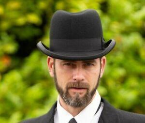 Brand New Men's 100% Wool Traditional Black Winston Churchill Homburg Hat