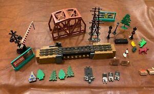 Vintage Lot of O Gauge Train Accessories Bridge, Lights, Signs, lock-ons &More