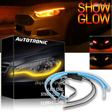2x 30cm Flexible Red DRL LED Strip Light Daytime Running Sequential Turn Signal