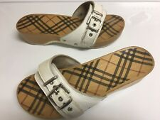 BURBERRY WHITE LEATHER WOOD FLIP FLOP SLIDE SANDAL 39 8 8.5 ITALY