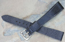Black 16mm moroccan leather grain tapered vintage watch strap NOS 1960s/70s