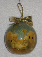 1991 Enesco PRECIOUS MOMENTS Collection Christmas Ball Ornament Nativity Scene