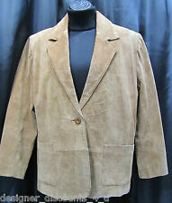 Savannah Womens leather jacket brown suede blazer button up SZ M 8P petite 8