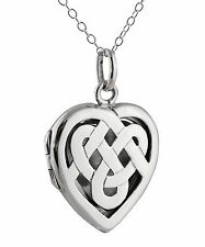 Celtic Knot Heart Locket Necklace - 925 Sterling Silver - Perfume Locket NEW