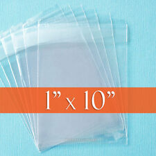 "100 Clear Cello Bags, 1"" x 10"" Resealable 1.8 mil OPP Poly Cellophane, 1x10 inch"