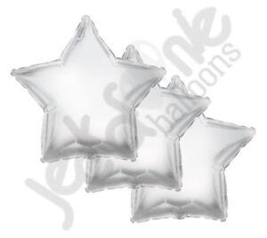 "3 pc - 18"" Solid Silver Star Balloon Wedding Baby Bridal Shower Birthday Luau"