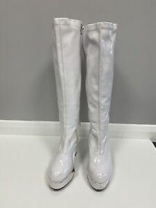 60-70s Knee High White PVC Platform Boots Size 5 Ex Hire Fancy Dress Costume