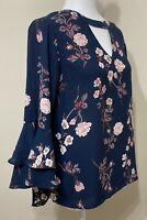 Size Small Krazy Kat Floral Blue Floral Bell Sleeve Blouse -Excellent Condition