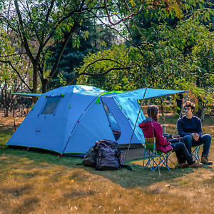 Outdoor Camping Tent 4 Person Waterproof Family Easy Setup Porch Double Layers