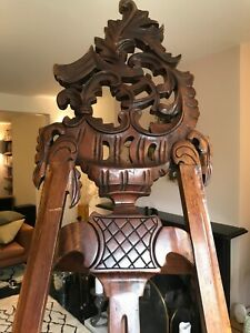 antique carved mahogany picture frame easel