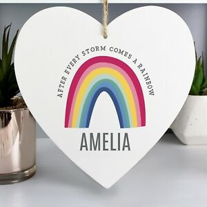 Personalised Rainbow Large Wooden Heart Decoration 10% Donation To NHS