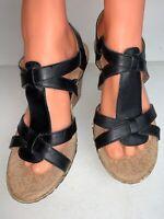 b.o.c. Born Concept Women size 8 Strap Black Leather Cork Heeled Sandals Wedge