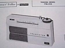 TOSHIBA 7TM-312S TRANSISTOR RADIO PHOTOFACT