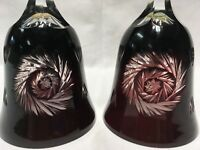 """(2) CUT TO CLEAR RUBY/CRANBERRY MOSER TYPE BOHEMIAN ART GLASS BELLS 8.5"""""""