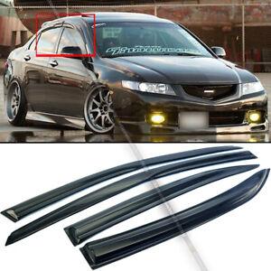 Fit 04-08 Acura TSX JDM Mugen Style 3D Wavy Black Tinted Window Visor 4 Pcs